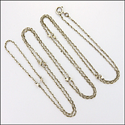 "French Antique Silver Guard Chain with Cubes - 52"" -12.8 grams"