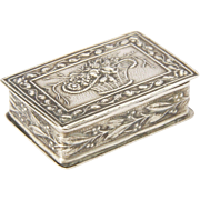 French Repoussé Silver Basket of Flowers Pill Box