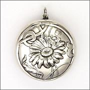 Art Nouveau Silver Daisy Compact Pendant