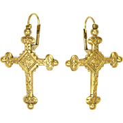 French Gold Plated 'Jeanette' Cross Lever Back Earrings - ZOE COSTE