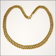 French 18K Gold Filled Engraved Rope Graduated Necklace -MURAT