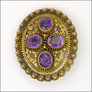 Antique Gold Plated and Genuine Amethysts Pin