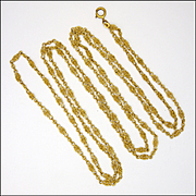 French Antique 18K Gold Plated Decorative Long Chain -Mercure