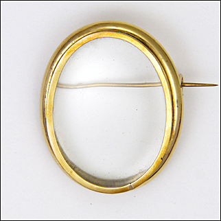French Victorian 18K Gold Filled Glassed Locket Pin