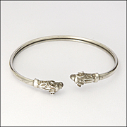 Victorian Rams Heads Sterling Silver Bangle