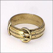 Victorian 1888 Gold Washed Sterling Silver Buckle Ring