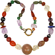 Victorian Agates and Gemstones Specimen Necklace - 24""