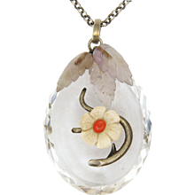 Victorian Crystal Quartz Coral  Flower and Amethyst Leaves Pendant Necklace