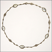 Art & Crafts European Silver and Blister Pearl Necklace