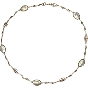 Art & Crafts European Silver and Baroque Pearl Necklace