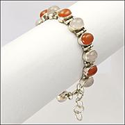 Carnelian Agate and Chalcedony Sterling Silver Bracelet