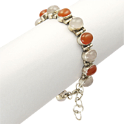 Carnelian Agate and Chalcedony Sterling Silver Bracelet
