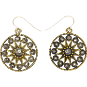Victorian Cut Steel on Gilt Brass Star Earrings - Silver Wires