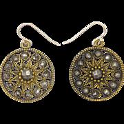 Victorian Cut Steel on Gilt Brass Star Earrings - Silver Wires