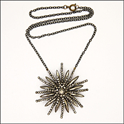 Victorian Cut Steel Pendant on Gunmetal Chain Necklace