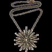 Victorian Cut Steel Pendant on Gunmetal Chain Necklace