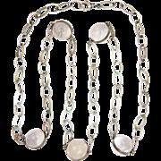 "Antique 'Pools of Light' Crystal Quartz Sterling Silver Necklace - 43"""