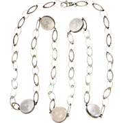 Antique 'Pools of Light' Crystal Quartz Sterling Silver Necklace - 43""