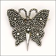 Early Victorian Cut Steel Butterfly Pin