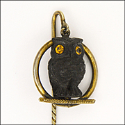 Victorian Bog Oak Owl Pendant Stick Pin