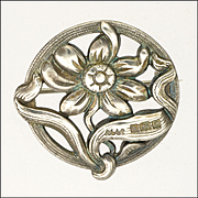 English Art Nouveau Sterling Silver Flower Pin - Adie and Lovekin