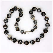 Victorian Banded Agate Necklace  - 18½""