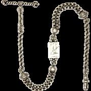 Victorian Sterling Silver Albertina Engraved Plaque Bracelet