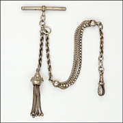 Victorian Sterling Silver Albertina Bracelet with Tassel - 12.8 grams