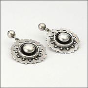 Victorian Sterling Silver Round Earrings - Pierced Ears