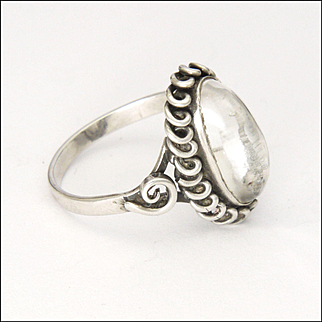 Scandinavian Arts and Crafts 830 Silver and Crystal Quartz Ring
