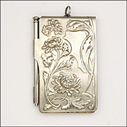 French Art Nouveau Silver Plated Chrysanthemum and Holly Aide Mémoire