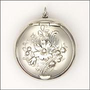 European Art Nouveau Silver Repoussé Flowers Compact Box Pendant