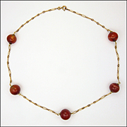 French Gold Filled and Carnelian Agate Necklace - ORIA