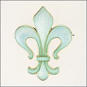 MARIUS HAMMER Norway Antique 930 Silver Enamel Fleur de Lis Pin