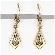 French 18K Gold Filled Geometric Drop Earrings -FIX