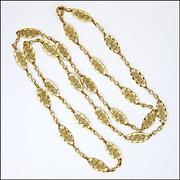 """French 18K Gold Filled Decorative Necklace - 28"""""""
