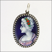 French Silver Enamel Lady Pendant - GAMEY