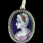 French Silver Enamel Lady Pendant - GAMEY