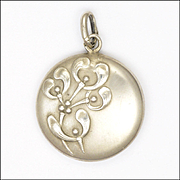 French Art Nouveau Silver Mistletoe Pendant