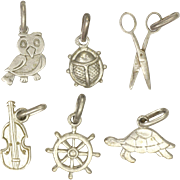 Six French Silver Figural Charms