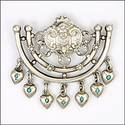 Austro-Hungarian Silver Cherub Pendant with Turquoise Set Hearts