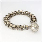 French Antique Silver anf Gold Ball Charm Bracelet