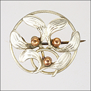 French Art Nouveau Silver and Gold Mistletoe Pin