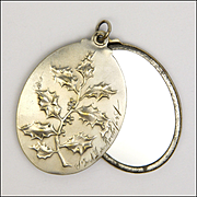 French Art Nouveau Holly and Bleeding Hearts Mirror Slide Pendant