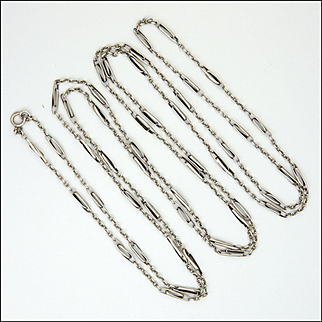 French Antique Silver Elongated Links Guard Chain - 55 inches