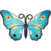 Antique Enamelled Large Butterfly Pin