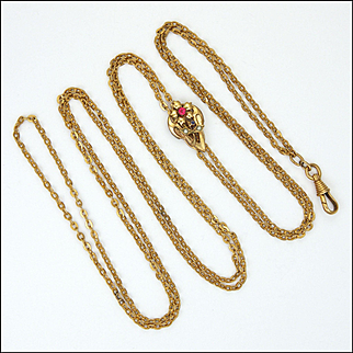 French Antique Gold Plated Guard Chain with Flower Clip