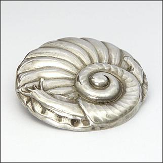 Art Deco Danish 830 Silver Large Snail Pin - GRANN and LAGLYE