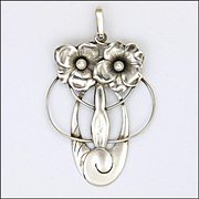 German Jugendstil or Art Nouveau Silver and Pearl Pendant