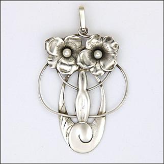 German Jugendstil or Art Nouveau Silver and Pearl Pendant
